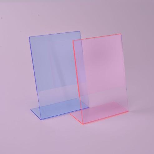 L Diplay, L Aufsteller DIN A4 Hochformat foureszierend Rot oder Blau Grünke Acryl
