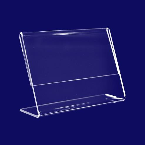 L Aufsteller aus Plexiglas DIN A4 Querformat- front-ansicht - Plexi Grünke