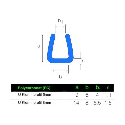 U Klemmprofil aus Polycarbonat 6mm 8mm Grünke® Acryl Technische Zeichnung