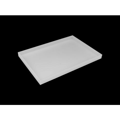 Deko Tablett Wohnzimmertablett 20cm x 80cm Acrylglas Opal Weiß mit deko - acrylic-store.de