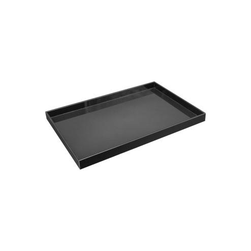 Deko Tablett Wohnzimmertablett Acrylglas Schwarz rechteckig 20cm x 30cm ohne deko  seitenansicht - acrylic-store.de