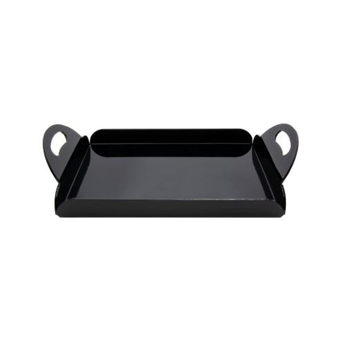 Schwarzes Serviertablett aus Acrylglas Frühstücktablett mit Griffen - acrylic-store.de