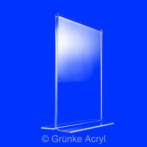 T-Aufsteller aus Acrylglas im DIN A7 Hochformat Grünke Acryl