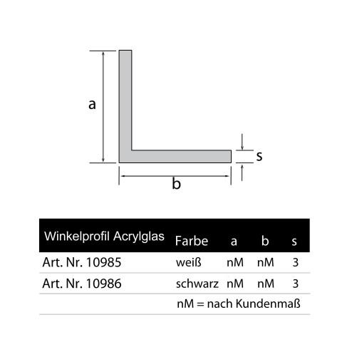 Winkelleiste Acrylglas schwarz Schenkel nach Kundenmaß glänzend Wunschlänge Zeichnung Grünke Acryl