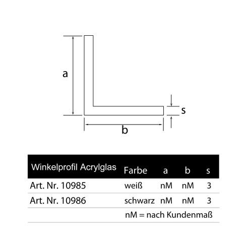 Winkelleiste Acrylglas weiß Schenkel nach Kundenmaß glänzend Wunschlänge Zeichnung Grünke Acryl