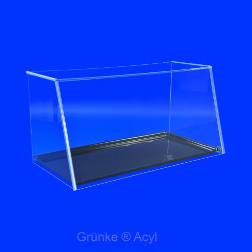 Thekenaufsatz System Easy One SEO 102cm Breite mit Schwarzem Tabeltt steckbar grünstig aus Acrylglas Greifschutz für Backwarenauslagen -acrylic-store.de