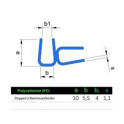 Verbindungs U Profil aus Polycarbonat für 5mm Platten 1m
