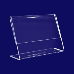 Infoständer, L Aufsteller aus Acrylglas in A7 Querformat