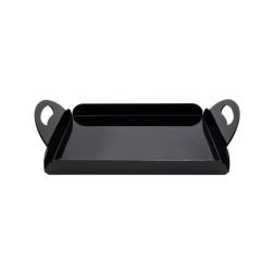 Grünke® Acryl Serviertablett Frühstückstablett (Schwarz)